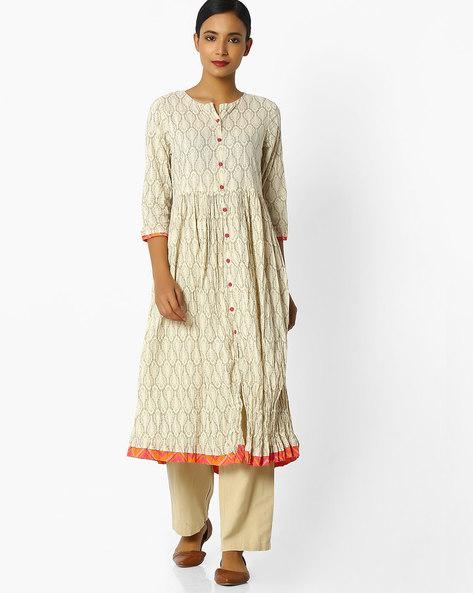 Printed Flared Kurta With Front-Slit Hem By AVAASA MIX N' MATCH ( Cream )