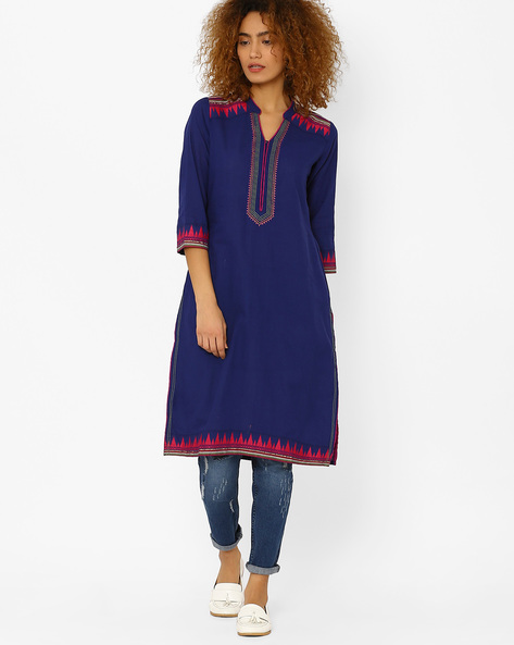 Embroidered Straight Kurta By Rangriti ( Blue )