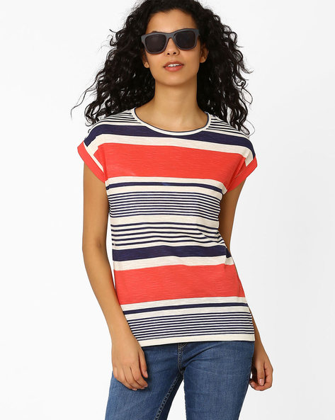 Striped T-shirt With Upturned Hems By CHM ( Ltpeach )