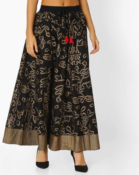 Foil Print Skirt With Contrast Border By FUSION ( Black )