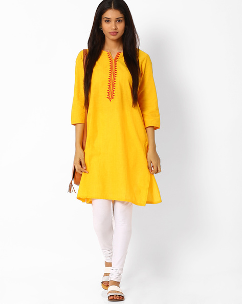 Straight Kurta With Embroidery By Rangmanch By Pantaloons ( Yellow )