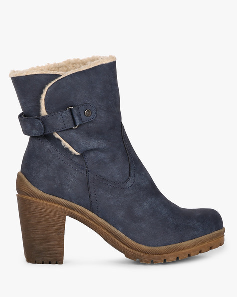 Block Heel Panelled Boots By Carlton London ( Blue )