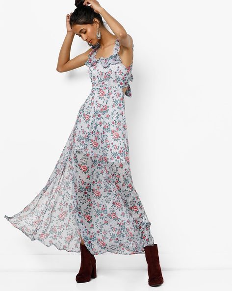 Floral Printed Maxi Dress With Side Slit By AJIO ( Navy )