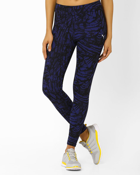 Ankle-Length Printed Leggings By Puma ( Blue )