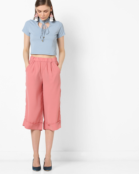 Crop Top With Tie-Up By AJIO ( Blue )
