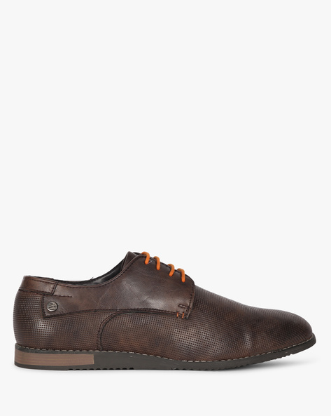 Textured Derby Shoes With Contrast Lace-Ups By DUKE ( Brown )
