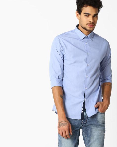 Jafil Slim Fit Shirt By Celio ( Blue )