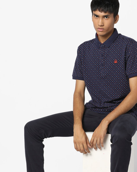 Polka-Dot Print Polo T-Shirt By UNITED COLORS OF BENETTON ( Blue )