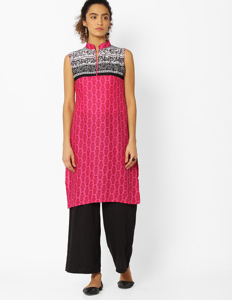 Printed Kurta With Mandarin Collar By Libas ( Pink )