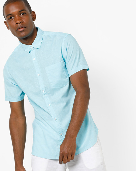 Short-Sleeved Shirt With Patch Pocket By AJIO ( Blue )