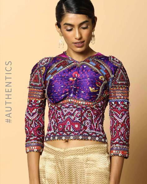 Kutch Embroidered Backless Blouse By Indie Picks ( Multi ) - 460103675001