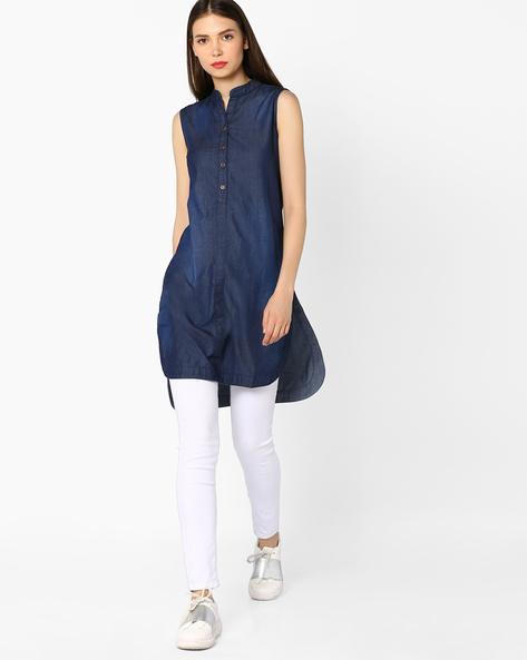 High-Low Tunic With Mandarin Collar By And ( Darkblue )