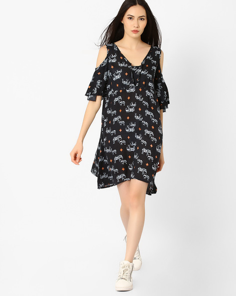chm-printed-a-line-dress-with-cold-shoul