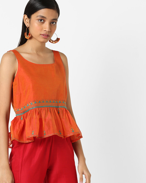 Sleeveless Peplum Top With Embroidery By AJIO ( Orange )