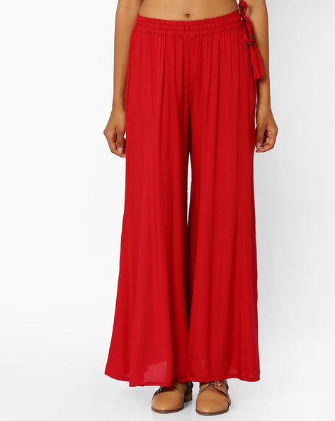 Palazzo Pants With Tassel Tie-Up By Khimsariya ( Red )