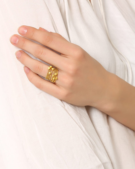 Set Of 8 Matte Gold-Plated Rings By AJIO ( Gold )