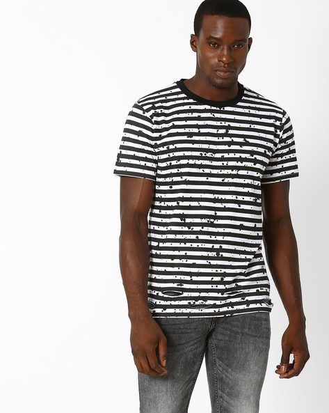 Striped Slim Fit T-shirt By Blue Saint ( Blackwhite )