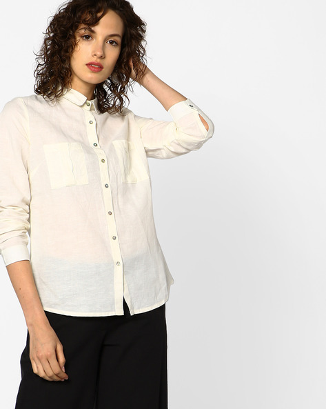 Linen Cotton Shirt With Patch Pockets By Project Eve WW Casual ( Yellow )