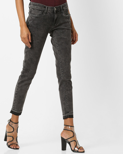 Super Skinny Cropped Jeans By Tokyo Talkies ( Charcoal )