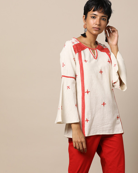 Hand Embroidered Lace Cotton Top By Seasons ( Offwhite ) - 460167596001