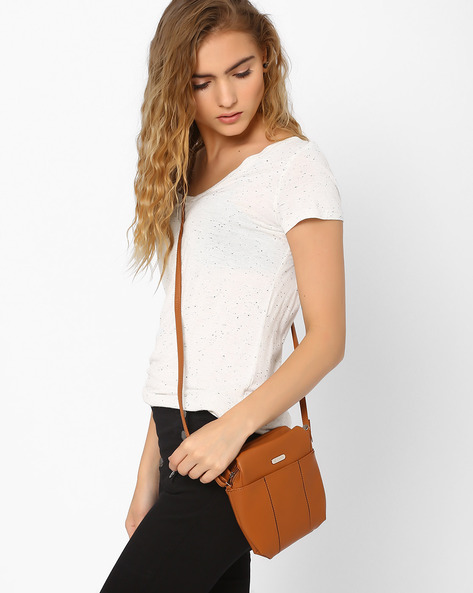 Sling Bag With Inked Edges By Lavie ( Tan )