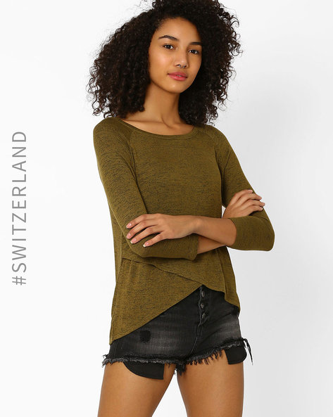 Knitted T-shirt With Raglan Sleeves By TALLY WEiJL ( Olive )