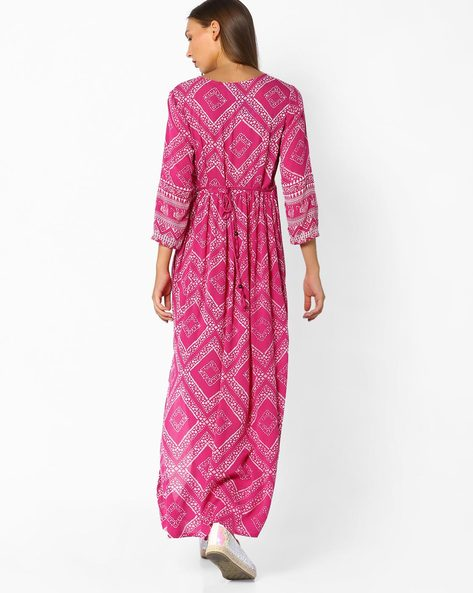 Printed Maxi Dress By AJIO ( Pink )