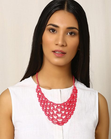 Metal Filigree Bib Necklace By Indie Picks ( Pink )