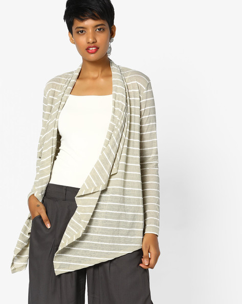 Textured Striped Shrug By Project Eve WW Athleisure ( Ltgreen )