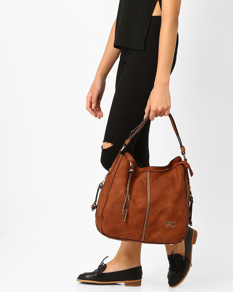 Hobo Bag With Zip Pullers By E2O ( Brown )