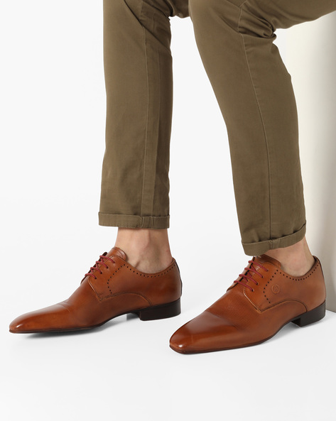 Genuine Leather Lace-Up Formal Shoes By ALBERTO TORRESI ( Tan )