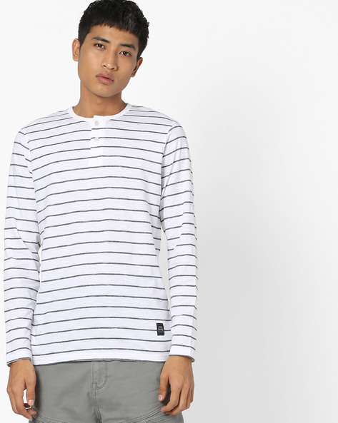 Striped Full-Sleeve Henley T-shirt By DNMX ( Offwhite )
