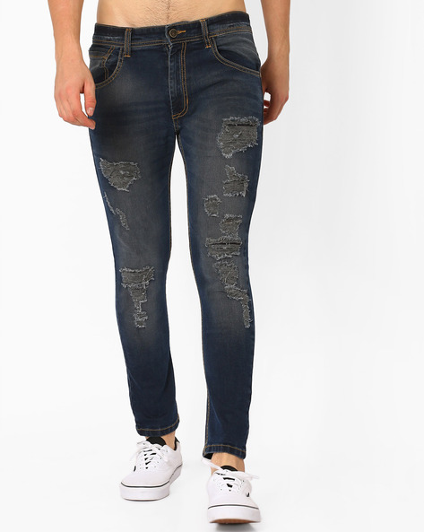 Distressed Skinny Jeans By ADAMO LONDON ( Navyblue )