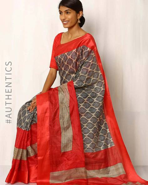 Printed Pure Silk Saree By Rudrakaashe-MSU ( Multi )
