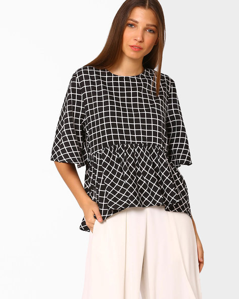 Checked Peplum Top By Rena Love ( Black )