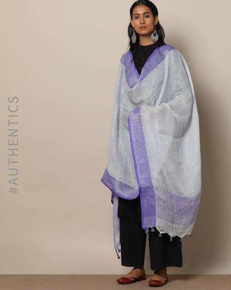 Handloom Linen Dupatta With Pom-Pom Detail By Indie Picks ( Blue )