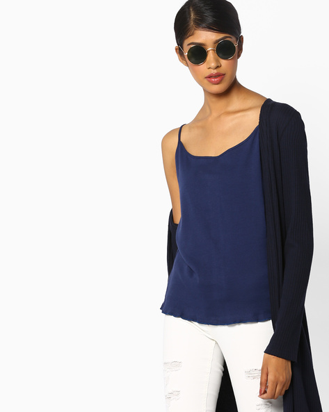Cotton Camisole Top By And ( Navy )