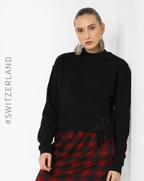 Sweatshirt With Side Tie-Ups By TALLY WEiJL ( Black )