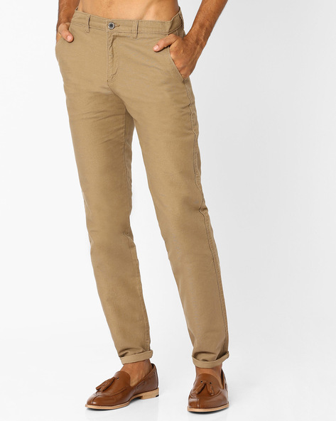 Slim Fit Chinos With Welt Pockets By NETPLAY ( Khaki )