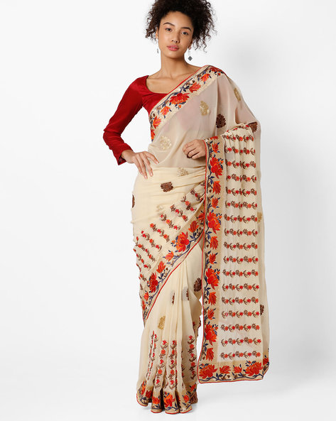 Floral Embroidered Saree By Amori ( Multicolor )