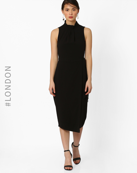 Knot-Neck Waist-Tie Sheath Dress By Closet London ( Black )