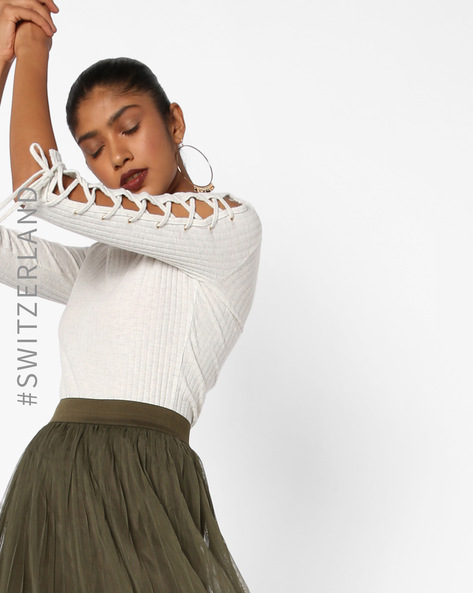 Ribbed Sweater With Cut-Out Sleeves By TALLY WEiJL ( White )
