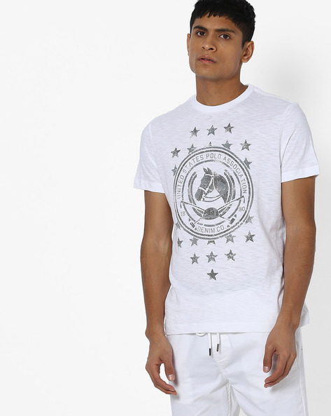 Graphic Print Crew-Neck T-shirt By US POLO ( White )