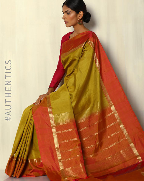 Handloom Arani Pure Silk Saree With Striped Border By Pretty Woman ( Mustard )