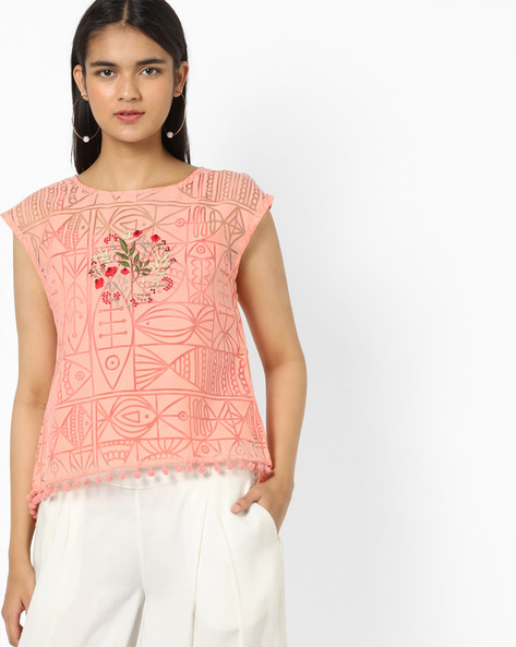 High-Low Top With Embroidery By AJIO ( Peach )