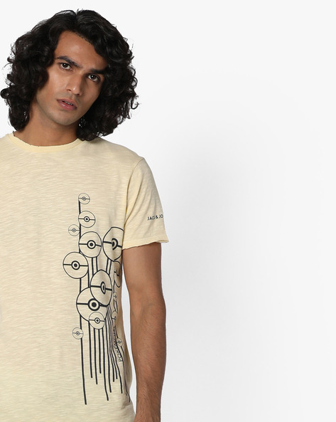 Placement Print T-shirt With Raw Edges By Jack & Jones ( Multi )