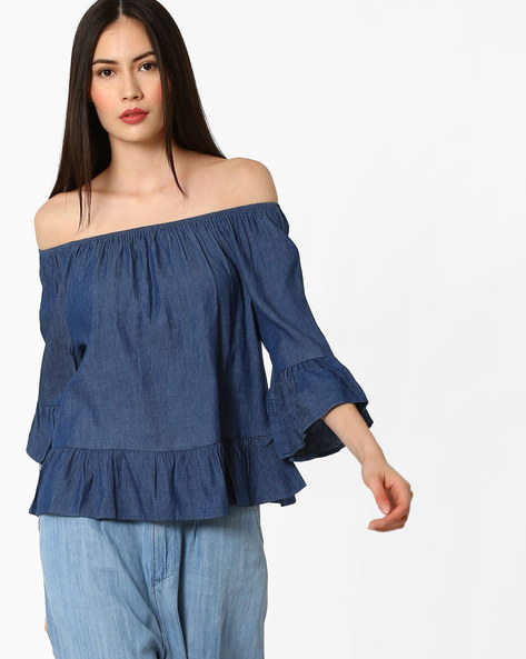 Off-Shoulder Top With Flounce Panels By Ginger By Lifestyle ( Blue )