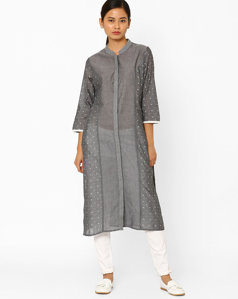 Printed Kurta With Mandarin Collar By AJIO ( Black )