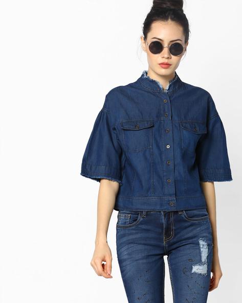 Denim Shirt With Frayed Collar By AJIO ( Blue )