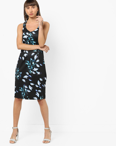 Floral Print Sheath Dress With Criss-Cross Back By AJIO ( Black )